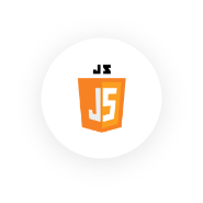 Logo JavaScript en fondo circular blanco