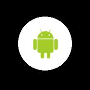 Logo Android fondo circular blanco