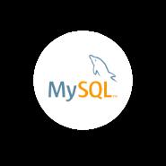 Logo MySQL en fondo circular blanco