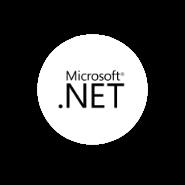 Logo .NET en fondo circular blanco