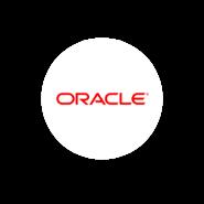 Logo Oracle en fondo blanco circular