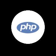 Logo PHP en fondo blanco circular