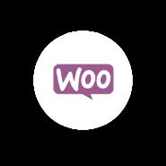 Lógo Woocommerce en círculo blanco