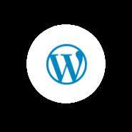 Logo Wordpress en círculo blanco