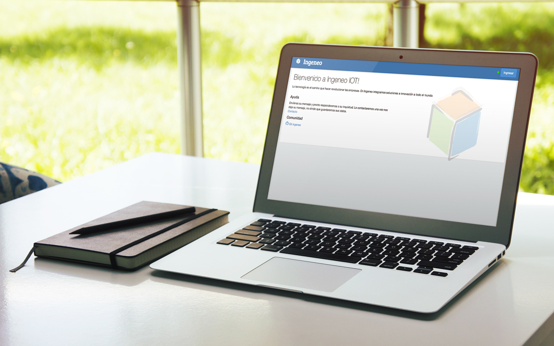 Computador mostrando página de bienvenida.