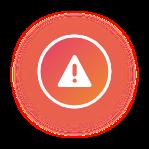 Icono de información blanco con fondo naranja y sombra naranja