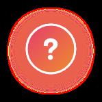 Icono de pregunta blanco con fondo naranja y sombra naranja