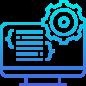 Icono pc mostrando código y un engranaje azul