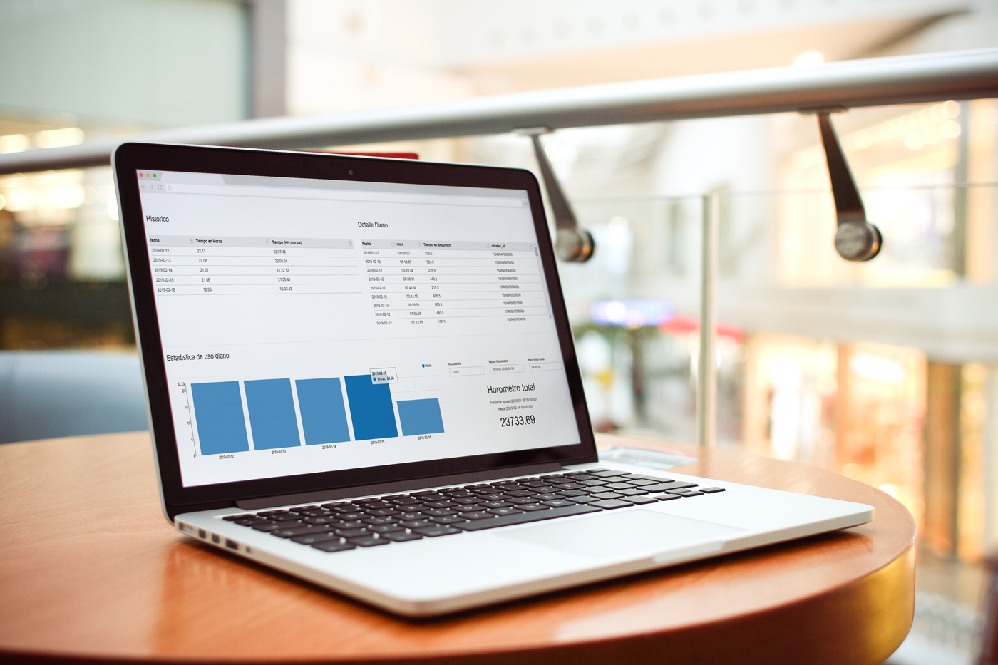 Computador mostrando listado de data.